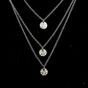 Silver Triple Strand Micro Crystal Disc Necklace